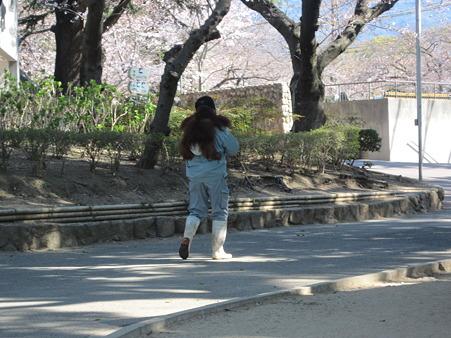 子オランウータンの散歩