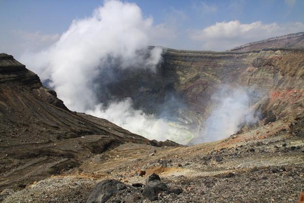写真: 九州ツーリング・阿蘇山の噴火口
